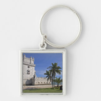Portugal, Lisbon. Belem Tower, a UNESCO World 2 Silver-Colored Square Key Ring