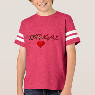 Portugal Love Red Heart Flag Colors Typography T-Shirt
