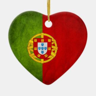 Portugal national flag ceramic heart decoration