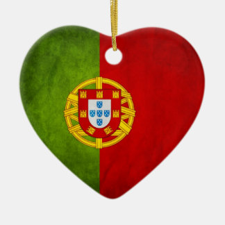 Portugal national flag Double-Sided heart ceramic christmas ornament