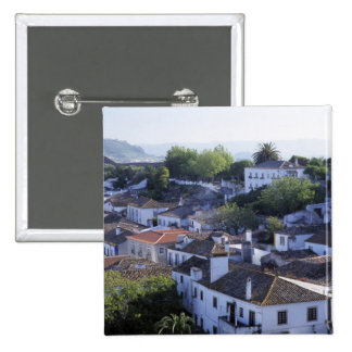 Portugal, Obidos. Elevated view of whitewashed 15 Cm Square Badge