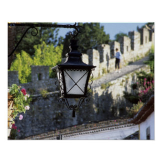Portugal Obidos Iron streetlamp and 14th Posters