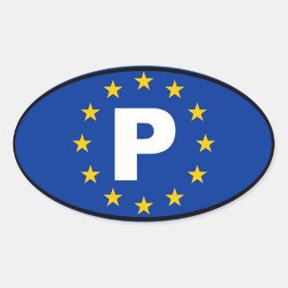 Portugal P European Union Oval Sticker