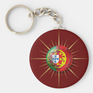 Portugal Soccer Starburst Soccer ball gifts Basic Round Button Key Ring