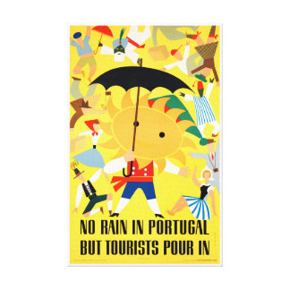 Portugal Vintage Travel Poster Restored Canvas Print