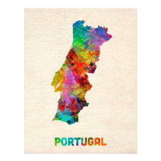 Portugal Watercolor Map Full Color Flyer