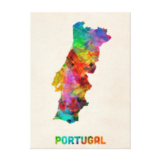 Portugal Watercolor Map Stretched Canvas Prints