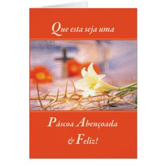 Portugese Religiou Blessed &Joyous Easter Orange Card