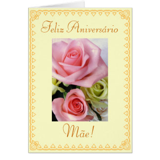 Portuguese: Birthday flowers Greeting Card