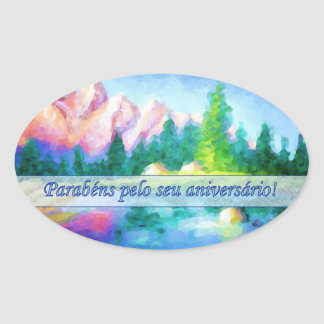 Portuguese Birthday Pink Mountain Blue Sky Sticker