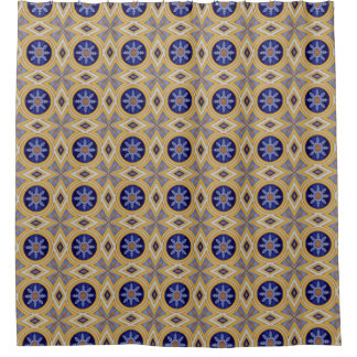 Portuguese blue and yellow ceramic tile pattern shower curtain
