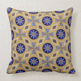 Portuguese blue and yellow ceramic tile pattern throw pillow