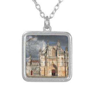 Portuguese castle silver plated necklace