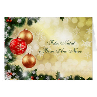 Portuguese Chrismas, New Year- baubles, snowflakes Card