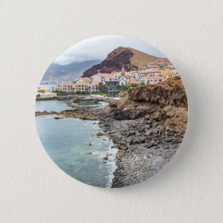 Portuguese coast with sea beach mountains village 6 cm round badge