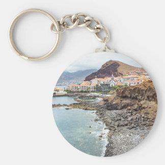 Portuguese coast with sea beach mountains village basic round button key ring