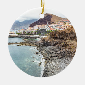 Portuguese coast with sea beach mountains village ceramic ornament
