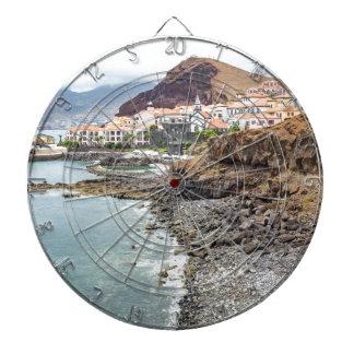 Portuguese coast with sea beach mountains village dartboard