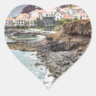 Portuguese coast with sea beach mountains village heart sticker