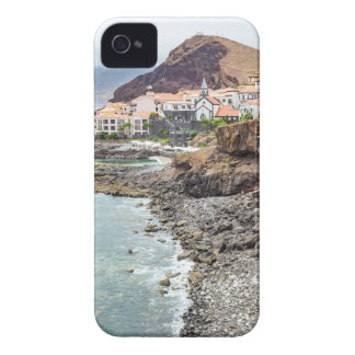 Portuguese coast with sea beach mountains village iPhone 4 cases