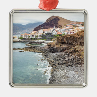 Portuguese coast with sea beach mountains village metal ornament