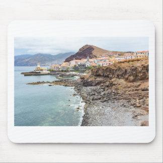 Portuguese coast with sea beach mountains village mouse pad
