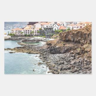 Portuguese coast with sea beach mountains village rectangular sticker