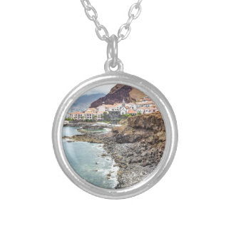 Portuguese coast with sea beach mountains village silver plated necklace
