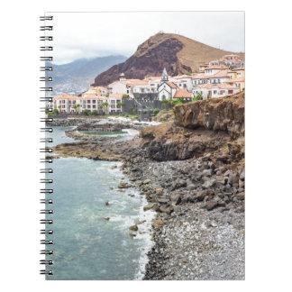Portuguese coast with sea beach mountains village spiral notebook