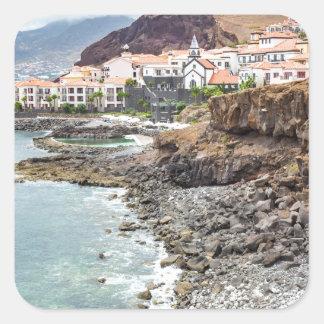 Portuguese coast with sea beach mountains village square sticker
