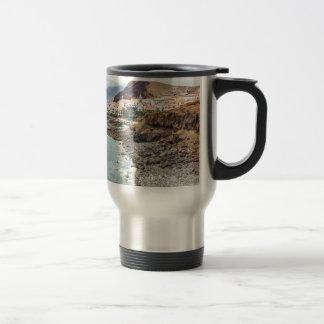 Portuguese coast with sea beach mountains village travel mug