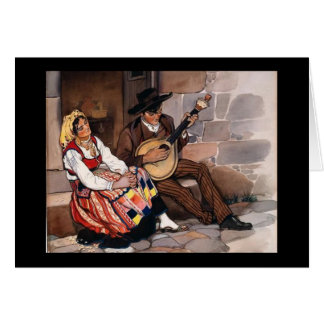 Portuguese Fado Gypsy Couple Greeting Card