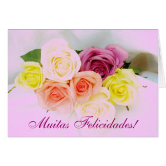 Portuguese: Felicidades! roses and Lilac colors Card