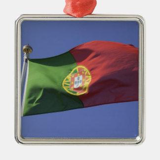 Portuguese Flag RF) Silver-Colored Square Decoration