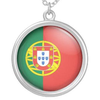 Portuguese flag round pendant necklace