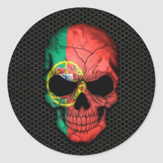 Portuguese Flag Skull on Steel Mesh Graphic Round Sticker
