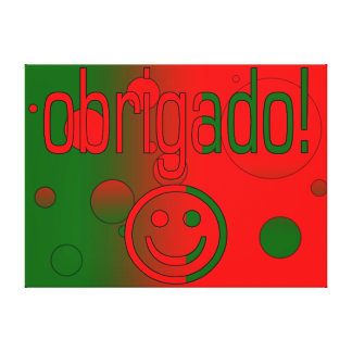 Portuguese Gifts Thank You Obrigado + Smiley Face Gallery Wrapped Canvas