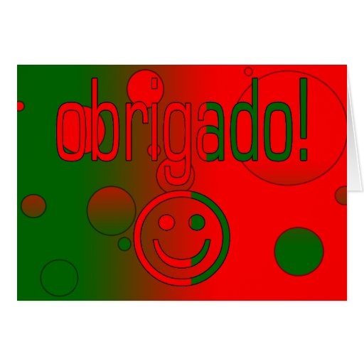 Portuguese Gifts Thank You Obrigado + Smiley Face Greeting Cards
