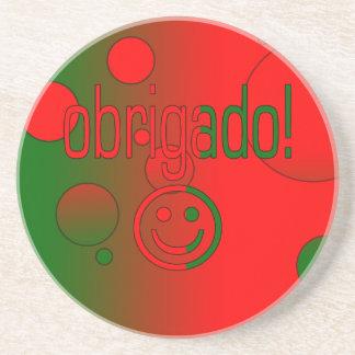 Portuguese Gifts Thank You Obrigado + Smiley Face Coasters