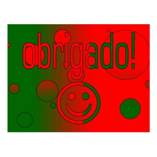 Portuguese Gifts Thank You Obrigado + Smiley Face Postcards