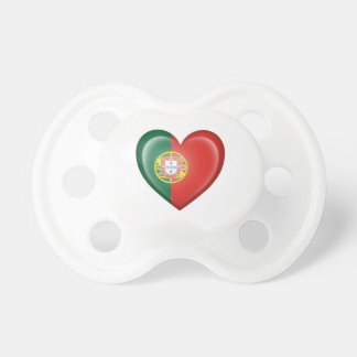 Portuguese Heart Flag on White Pacifiers