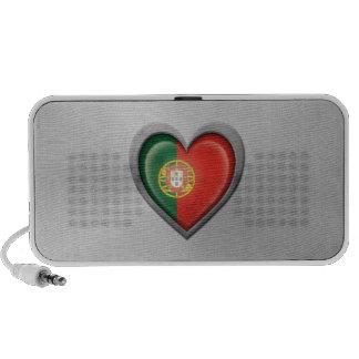 Portuguese Heart Flag Stainless Steel Effect Mini Speaker