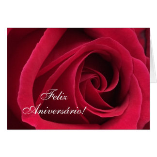 Portuguese: Parabens! Birthday rose Card
