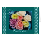 Portuguese: Parabens! birthday roses and lace Card
