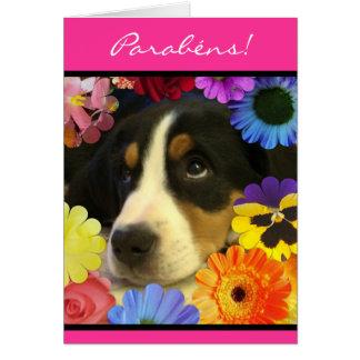 Portuguese: Parabéns- foto de cachorrinho Card