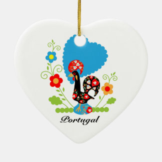 Portuguese Rooster of Luck Ceramic Heart Decoration