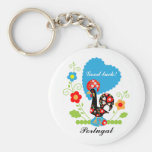 Portuguese Rooster of Luck Basic Round Button Key Ring