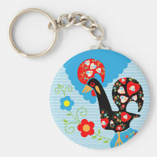 Portuguese Rooster symbol of Portugal Basic Round Button Key Ring