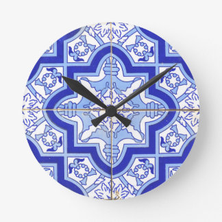 Portuguese Tile Blue and White Round Clock