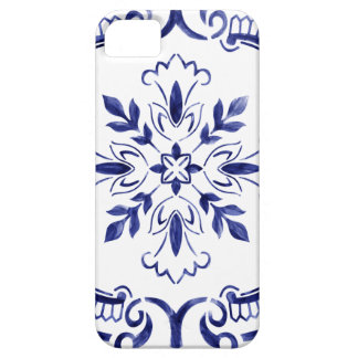 Portuguese tile in navy blue iPhone 5 cover